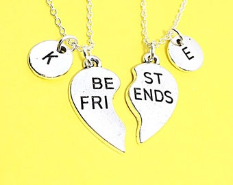 SALE 2 Best Friends set, Customized,Best friend Necklace,Pink Necklace,Pink Jewelry, Twin Necklaces, Bff Friendship Jewelry, Gift For Friend