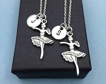 Best friend necklace, dance necklace, dancer charm pendant, best friend for 2, personalized, initial necklace, initial charm, friend gift