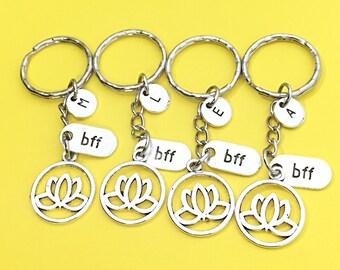 Lotus flower keychain, lotus flower charm, flower keychain, personalized keychain, initial keychain,lotus keychain,customized, monogram,gift