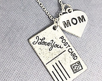 Gift For Mom, Mother's Day Gift,I Love You Mom Necklace, Mom Jewelry, Distance Mom Gift, Mother's Day Charm Necklace Gift,Gifts Under 20 Mom