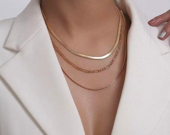Layered Set - Gold - Necklace Pendant Necklace,  Necklace Layered Jewelry  crescent -Gold Layered Necklaces