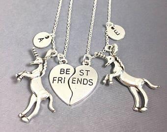 SALE Unicorn Charm, Set of 2  silver, Necklace Jewelry,best friend necklace,always pendant,friendship jewelry,BFF necklace for 2,best friend