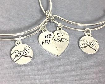 SET OF 2 Promise Charm Bracelet, Best Friend Bangle Bracelet, Best Friend Bracelet, Friendship Jewelry, Bracelet set of 2,  Friends Forever
