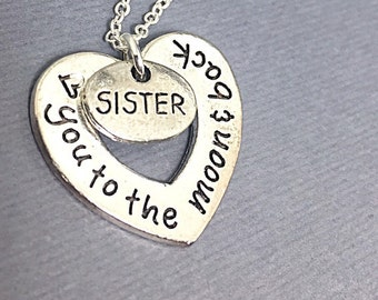 925 Sterling silver necklace, to the moon and back necklace,I love you sister,sister charm,Love Moon Jewelry,Silver Engraved heart Necklace