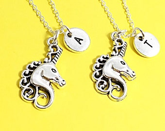 Best friend necklace, unicorn necklace, unicorn charm, set of 2 bff, friendship jewelry, personalized,initial charm, silver unicorn,bff gift