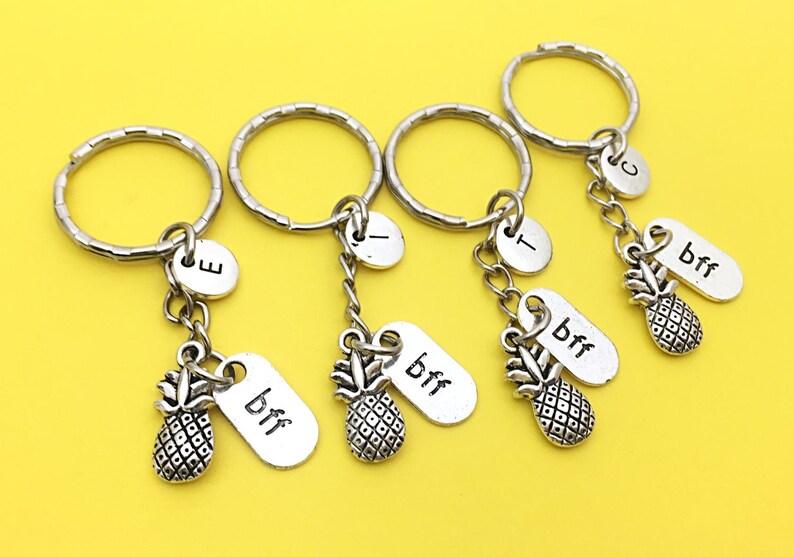 Personalized Set Of 4 Best Friends Keychain Set Of Four Bff Charm 4 Bff Keychain Set Of 4 Best Friends Keychain Monogram Bff Gifts