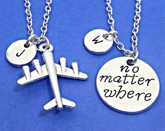 """Set Of 2 Personalized Friendship Necklaces, """"No Matter Where"""" Charm Necklace, Distance Friend Gift, Custom, Monogram, 2 Distant friends Gift"""