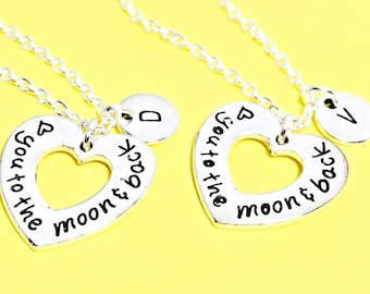 Silver Best Friends Necklaces - Set of Two Friendship Necklaces, heart Charms, Bff Charm, Friendship Necklace Set,Best Friend Jewelry,custom