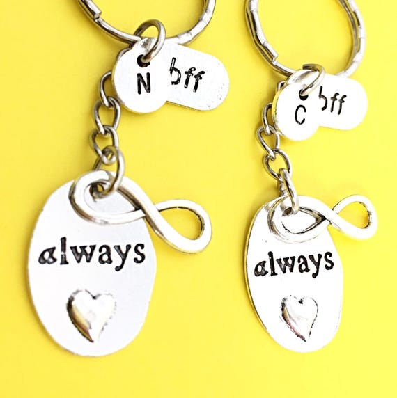 SET OF 2 Personalized BFF Keychains Best Friends Forever Set