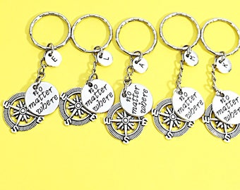 SALE SET OF 5 Personalized KeychaIns, Graduation Going Away Gift, 5 Friends, Going Away, Custom Initial Monogram Keychains, Distance Gift, S