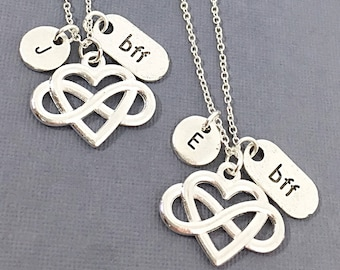 Best Friend Necklace,bff necklace, best friend charm, matching friend necklace, silver best friend jewelry, friendship necklaces, gift bff
