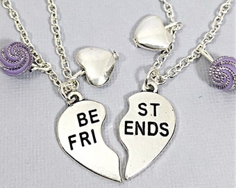 Silver Best Friends Necklaces - Set of Two Friendship Necklaces, Best Friend,Bff Charm,Friendship Necklaces,Best Friend Jewelry, Friend Gift