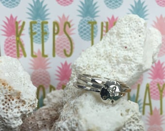Stackable Silver Rings with Sand Dollar Charm/ Stacking Rings Silver/ Charm Rings/ Starfish/ Island Themed Rings/ Beach/ Wedding/ Bridesmaid