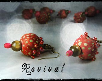 Earrings - small model - REVIVAL - fabric with dominant red, purple, rust and purple, light khaki and green patterns
