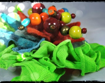 PIN or jewelry bag - fabric ESMERALDA, leather, felt wool, silk cocoon and beads in assorted colors