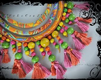 Necklace VEZACRUZ fabric predominantly yellow and orange - yellow ochre leather - wood beads