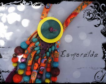 Necklace ESMERALDA multicolored fabric with orange and yellow ochre, purple leather and metal beads and wood in assorted colors