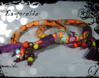 SOLD - bracelet ESMERALDA - purple, fabric leather predominantly Ochre yellow and orange tassels and metal beads and wood to the