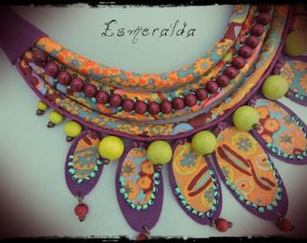 SOLD - necklace ESMERALDA fabric predominantly orange and yellow - purple leather, wood beads