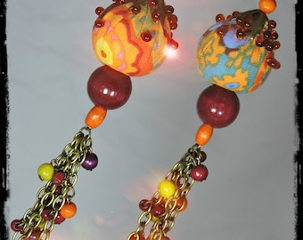 ESMERALDA - multicolored fabric ornament - wood beads and glass earrings, bronze chain