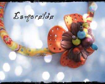 SOLD - necklace ESMERALDA - Choker with multicolored fabric neck predominantly yellow and orange - orange and brown leather flower - beads