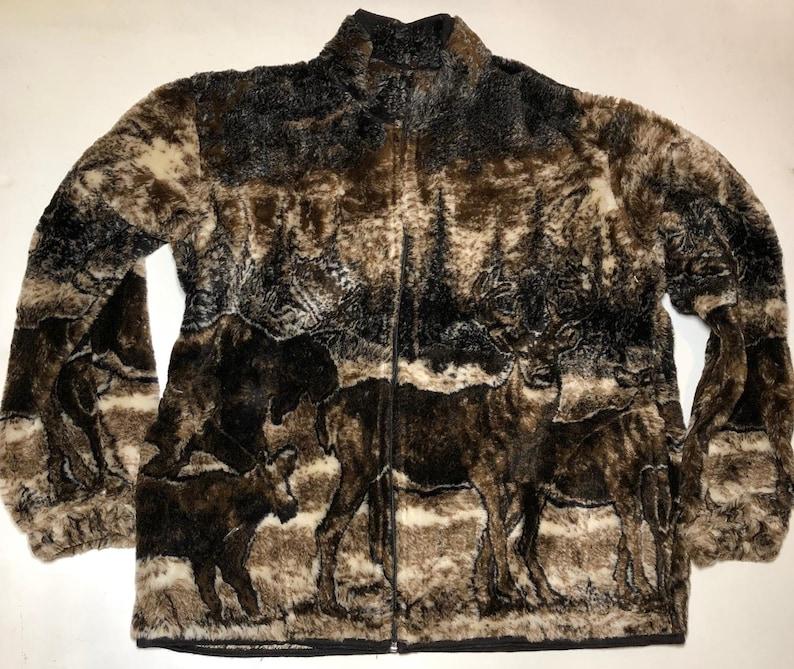 ZooFleece Men/'s Women/'s Brown Deer Buck Moose Winter Fleece Hunting Hunt Jacket Ugly Sweater Funny Sweater Christmas xmas