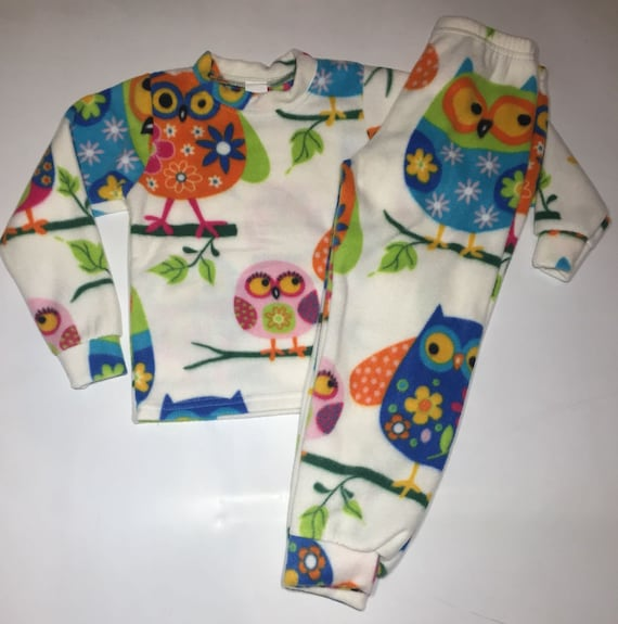 1b70d87c3e62 White Owls Fleece PJ s Kids Boys Girls Winter Warm Pajamas
