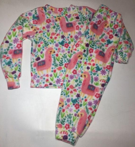 c085f3511874 ZooFleece Kids Pink Girls Llama Fleece PJ s Winter Warm