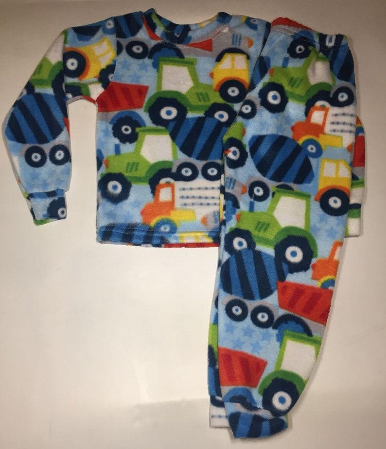 e6596dc53874 ZooFleece Kids Blue Boys Monster Trucks Fleece PJ s Winter