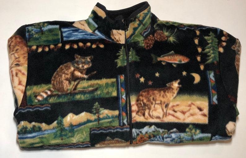 ZooFleece Black Mama Bear Fish Raccoon Wolf Print Fleece Jacket Grizzly Gift Ugly Sweater Funny Sweater Christmas xmas S-XL
