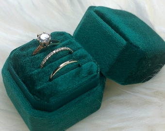 Triple Square Octagon Monogram Velvet ring Box 3 slots Holds 3 Rings Bearer Box Stacking Ring For Bridle Shower Wedding Photos And Storage