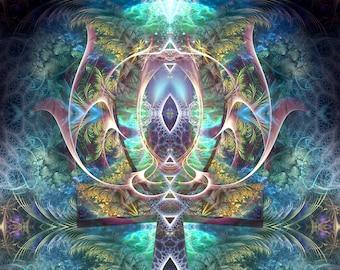 Ankh Visionary Art, Psychedelic Art, Fractal Art, Visionary Print, Psychedelic Print, Ankh Art, Huachuma, Ayahuasca, Wall Art