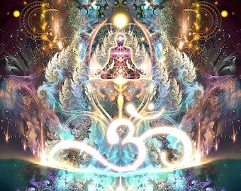 Om Art POSTER, Yoga Art, , Meditation, Om Symbol, Visionary Art, Psychedelic Art, Fractal Art Print, Psychedelic Print, Om Poster, Conscious