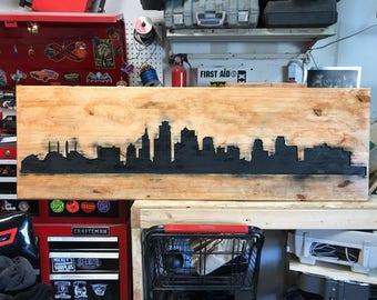 Kansas City Skyline Wood Art