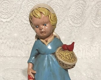 Feeding Time Figurine Girl With Rooster  MINT CONDITION - Makes A Great Gift