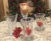 Vintage Set of 4 matched Pressed Glass Set, Candleholders and Flower Base, Holidays Table Decor