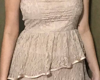 516fb9ab5b94 Laced Strapless Pink Dress by Ruby Rox Size 9 Vintage Party Dress