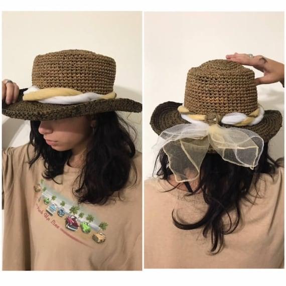 Vintage Women's Hat,  Handwoven Brimmed Brown Stra