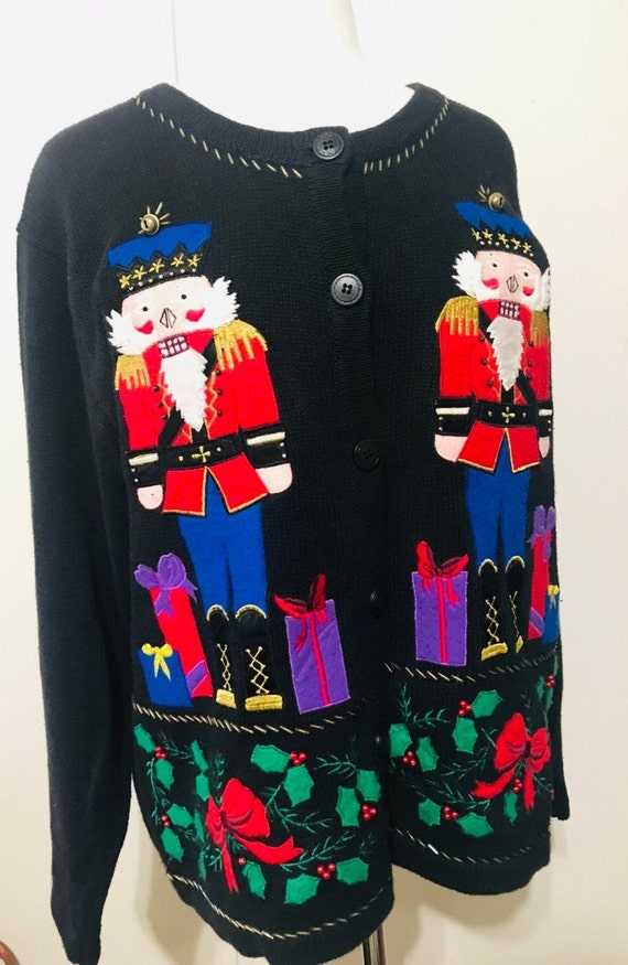 Vintage Christmas Sweaters.Vintage Ugly Christmas Sweater Nutcrackers Black Cotton Cardigan By Bobbie Brooks Size Large