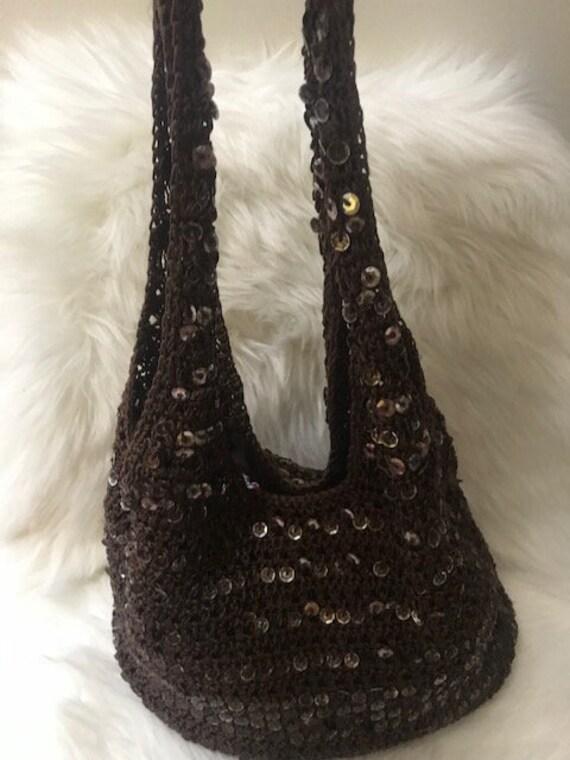 Vintage Crochet Shoulder Bag, Brown Women's Bag, C
