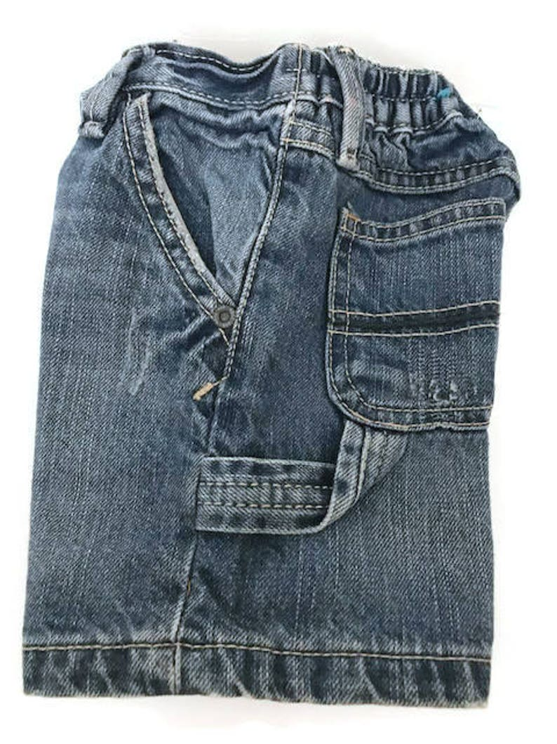 Baby Distressed and wash Blue Jean Shorts Carpenter Jeans by Utility Est Place 1989 Size 6 to 9 Months