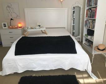 Vintage Black Throw Blanket Faux Fur Blanket or Twin Bed Cover