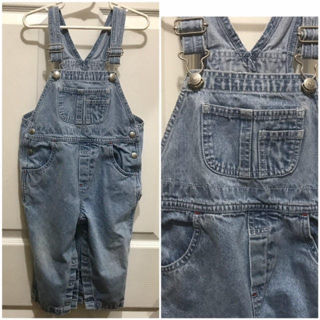 Vintage Overalls & Jumpsuits Unisex Toddler Gap Overall Washed Denim Classic Baby Size 2xl Chubby $20.00 AT vintagedancer.com