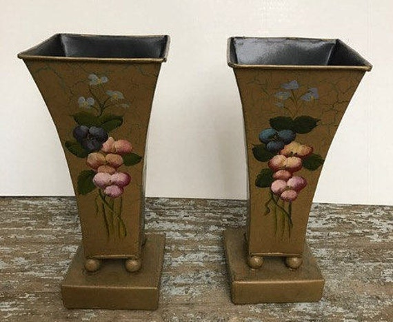 Vintage Gold Aluminium Tall Vases Set Of Vases With Hand Paint Etsy