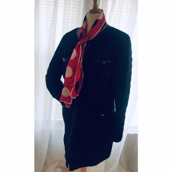 Vintage Black Dress Long Coat, Quilt Women's Coat,