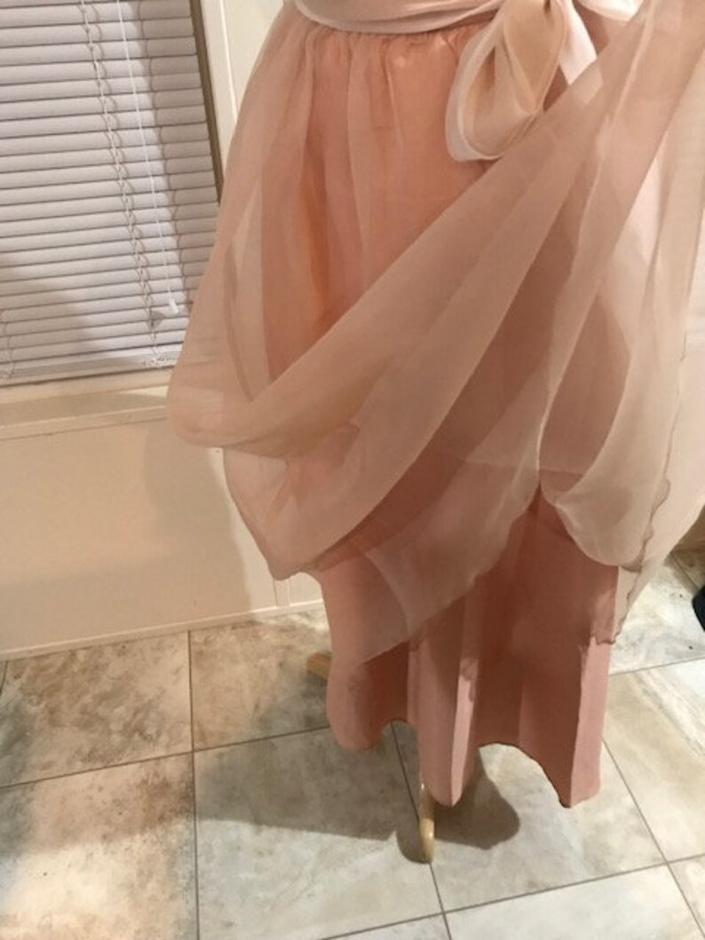 Vintage Rose Pink Skirt with Ribbon Belt Women/'s Long Skirt Size 8 or Small