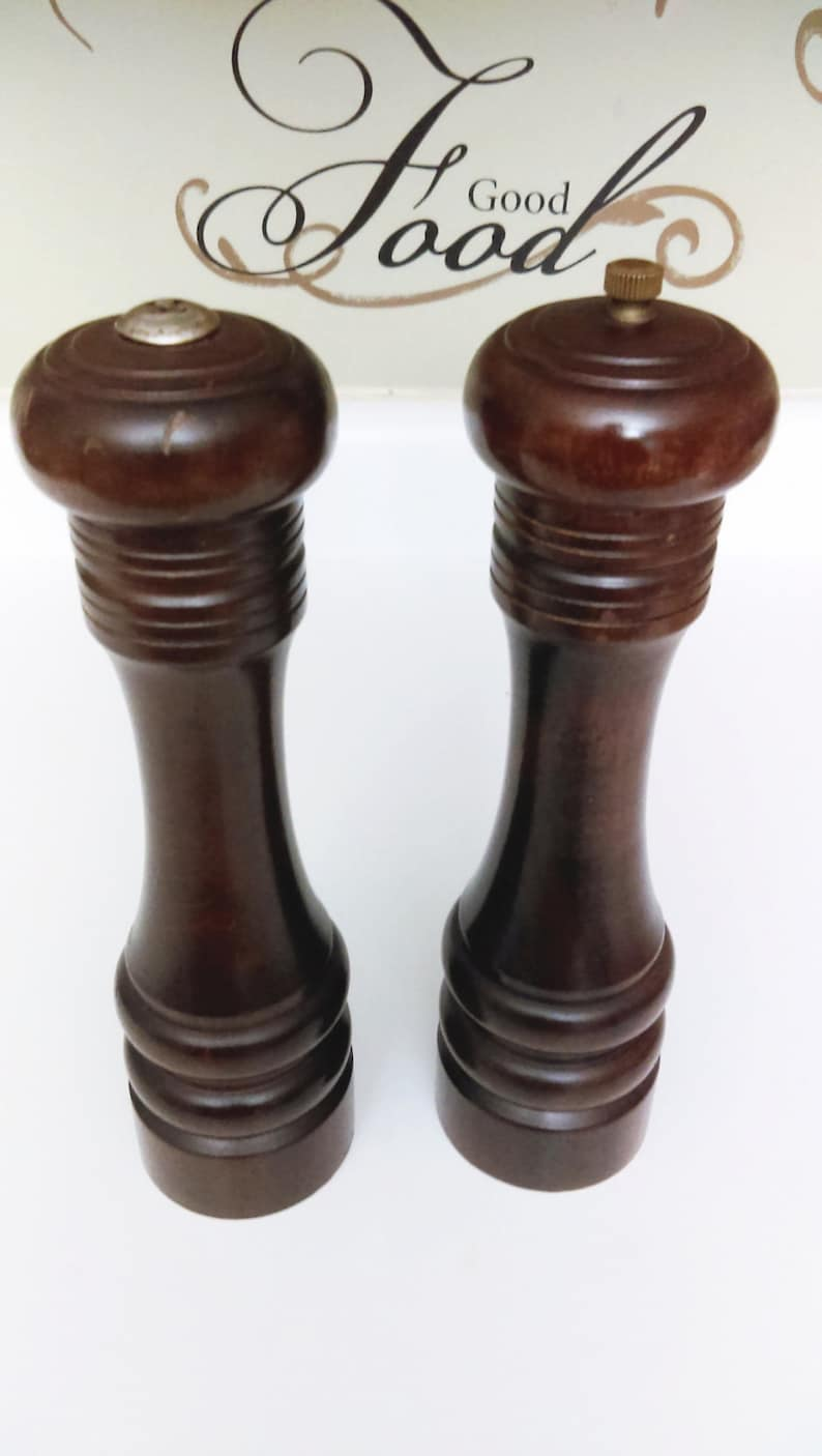 Extra Large Wood Pepper Mill And Salt Shaker Vintage 90s
