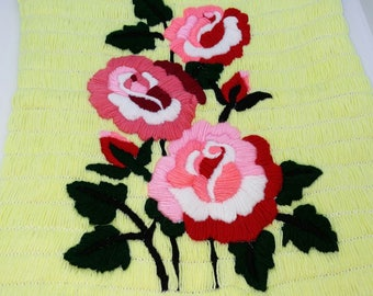 Handmade Flower Scenery on Cotton With Threads