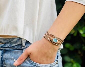 Wrap bracelet wrap brown beaded bracelet beads bracelet with turquoise crystal pendant