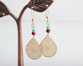 Gold plated earrings Beaded Drop Earrings Small Gold Earrings Gold Teardrop Minimalist jewelry Red and Turquoise Beads best gift for her